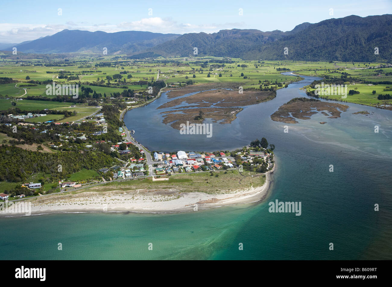 Collingwood and Aorere River Estuary Golden Bay Nelson Region South Island New Zealand aerial Stock Photo