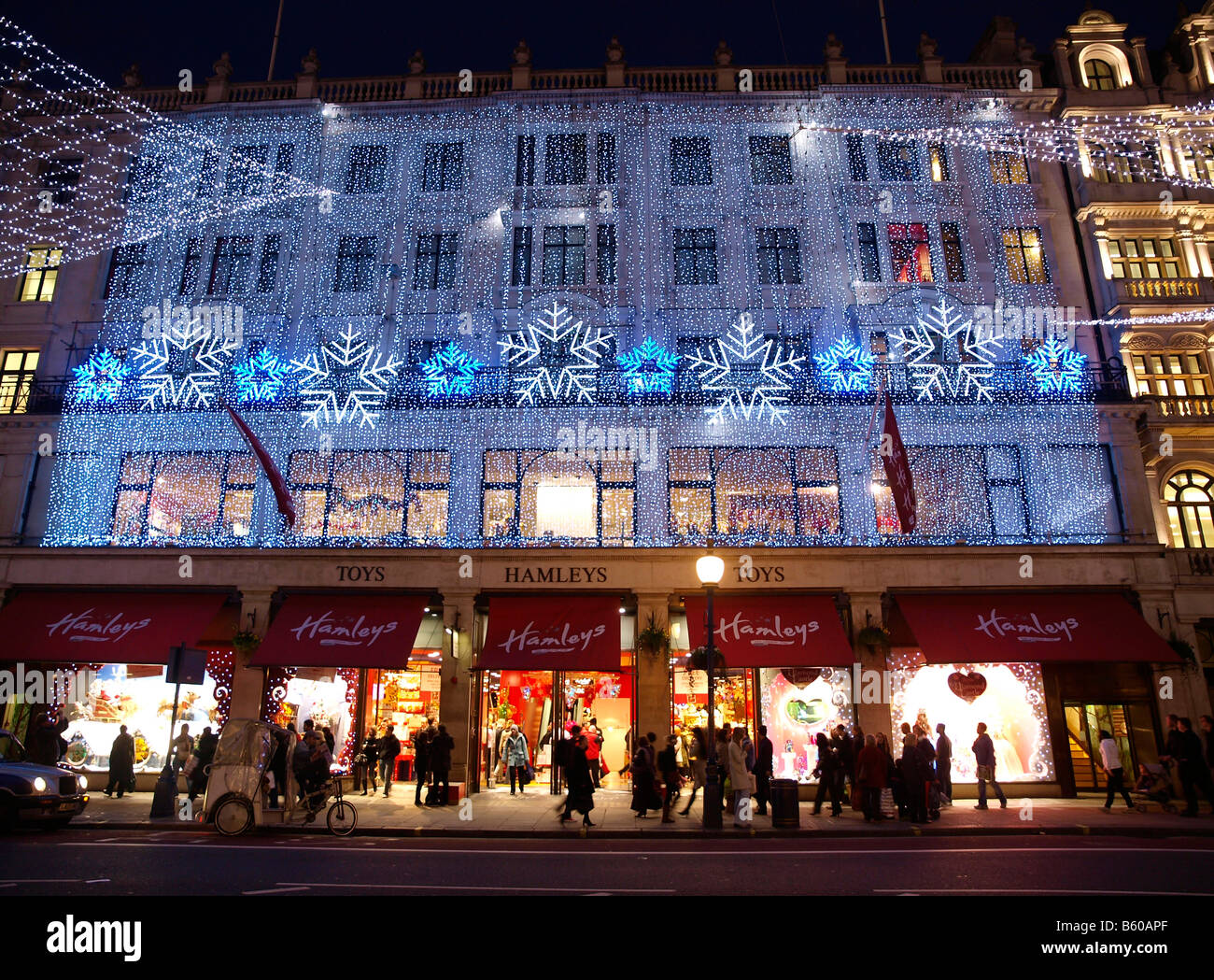 hamleys toy shop and 2008 2009 christmas lights regent street london stock image