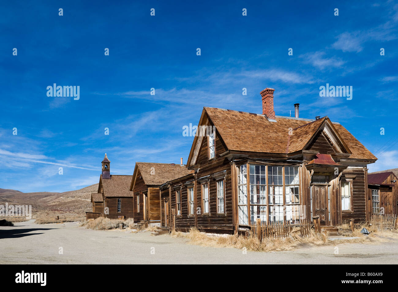 J S Cain House, Green Street, 19thC gold mining ghost town of Bodie near Bridgeport, Sierra Nevada Mountains, California, - Stock Image