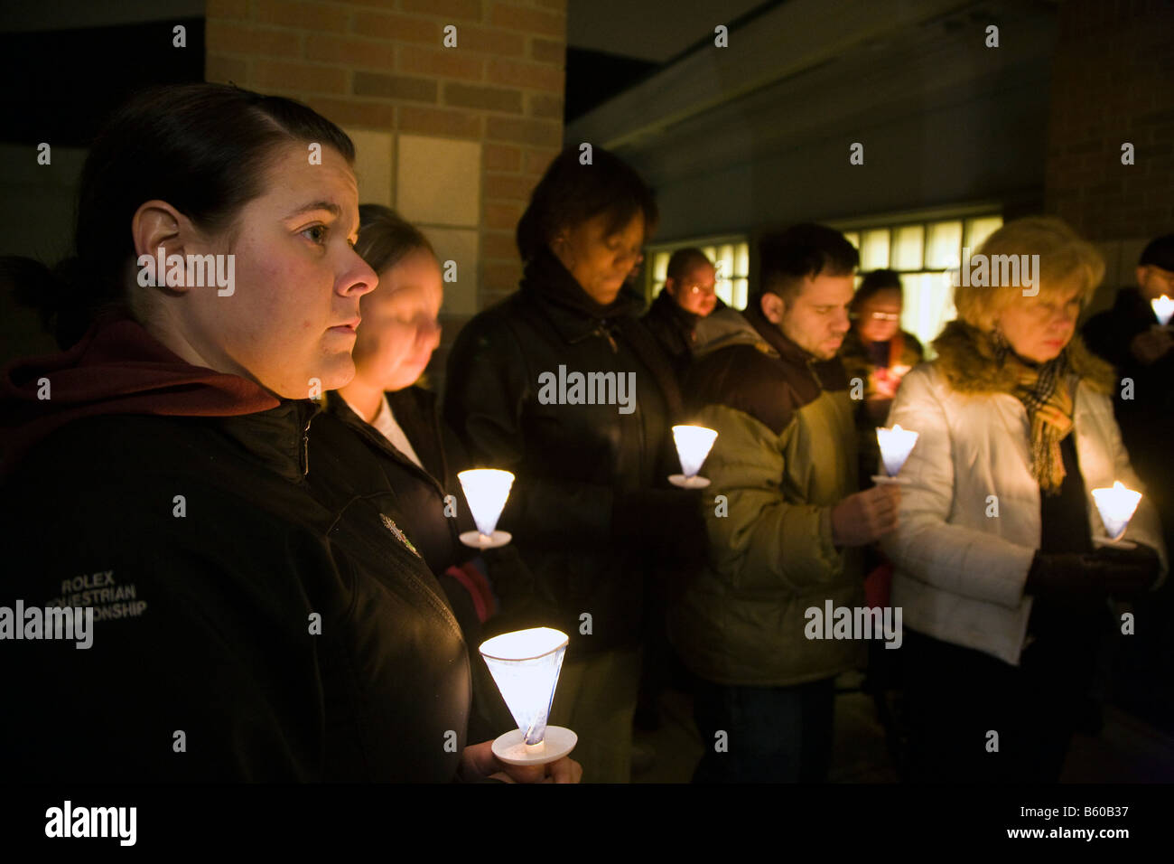 Candlelight Vigil Remembers Homeless Persons Who Died - Stock Image