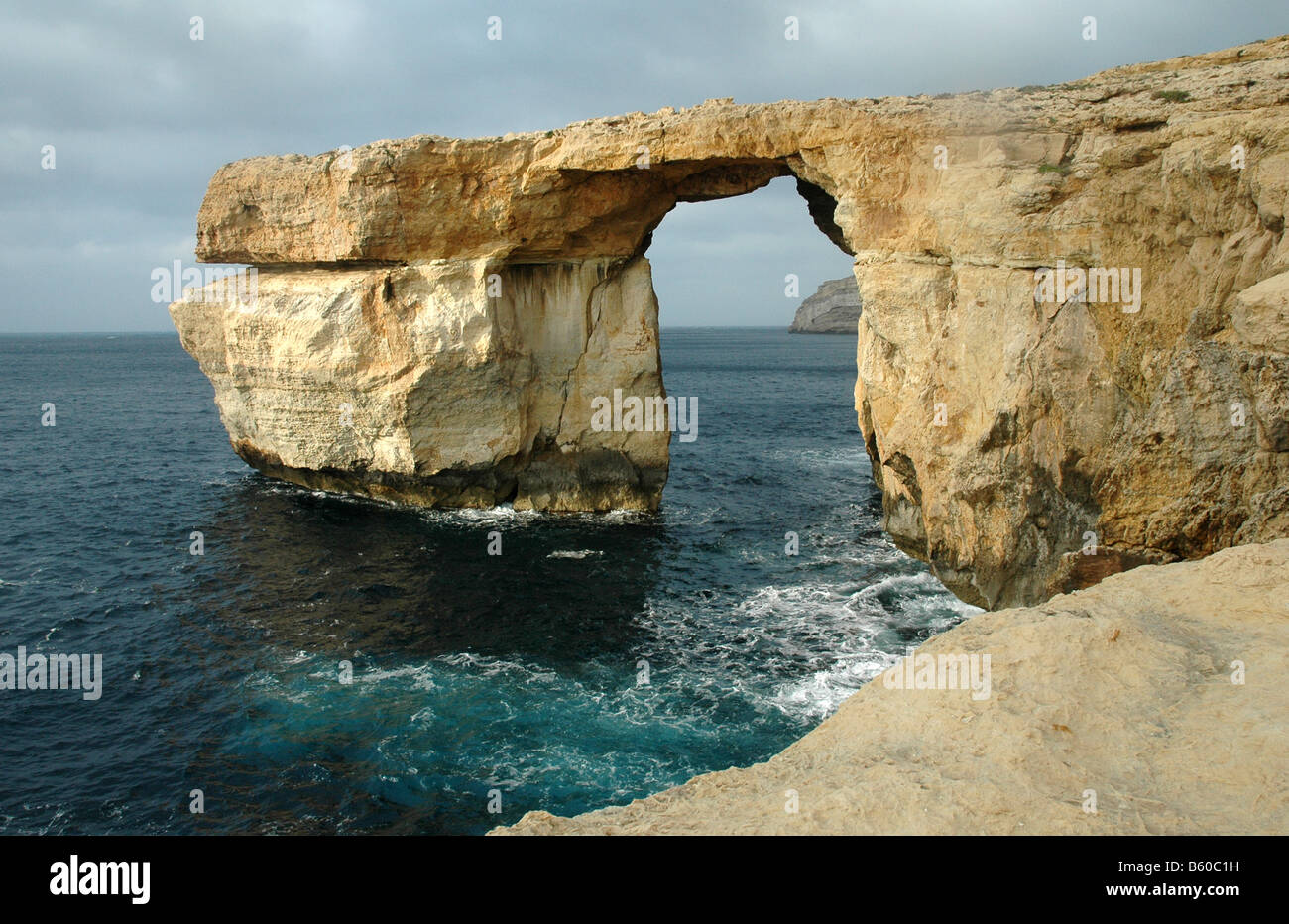 The Azure Window  A  rock arch, Gozo Malta Med - Stock Image