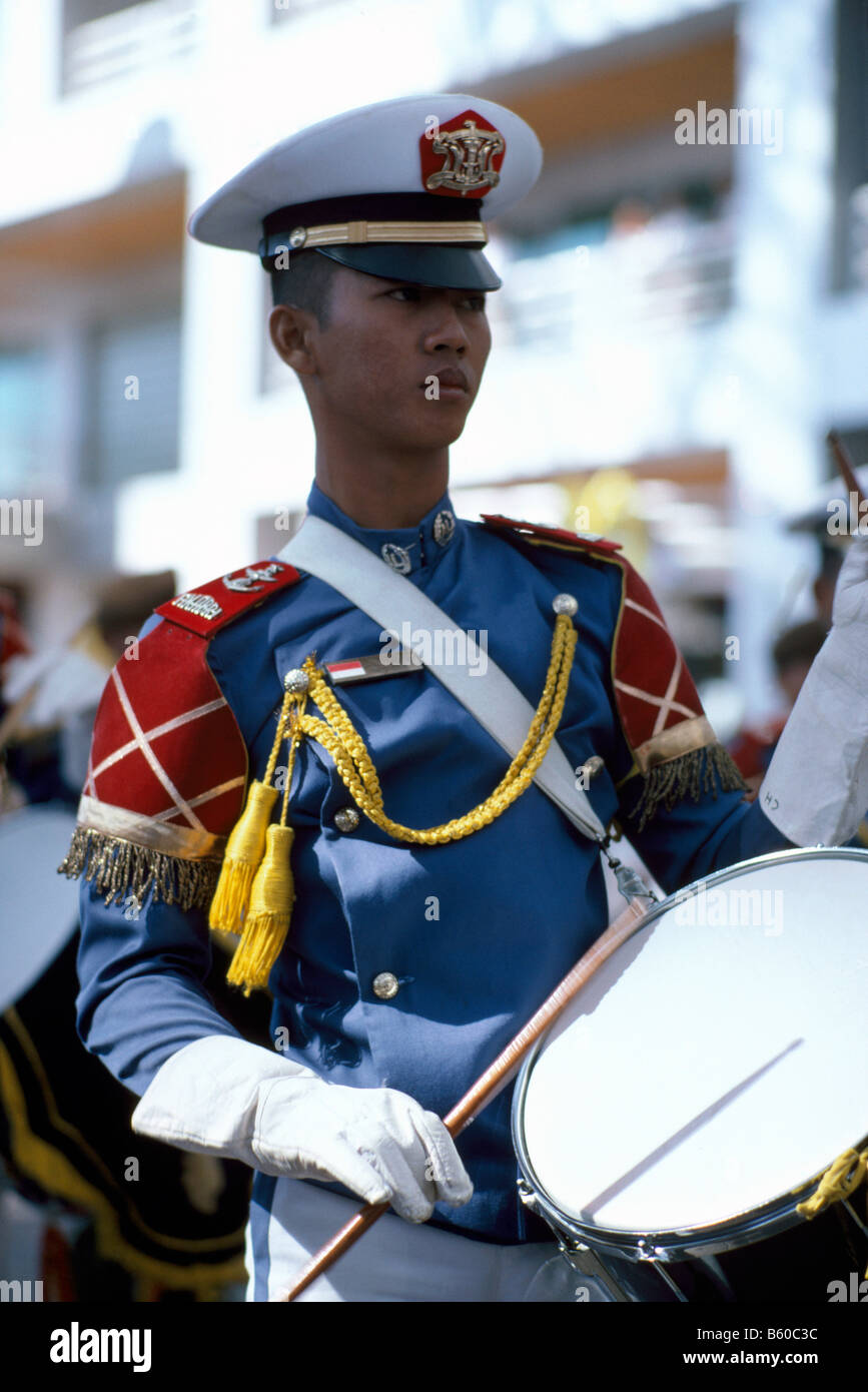 Drummer with Drum from Indonesia, Member of Naval Marching Band from KRI Dewaruci (Dewa Ruci) Tall Ship owned by - Stock Image
