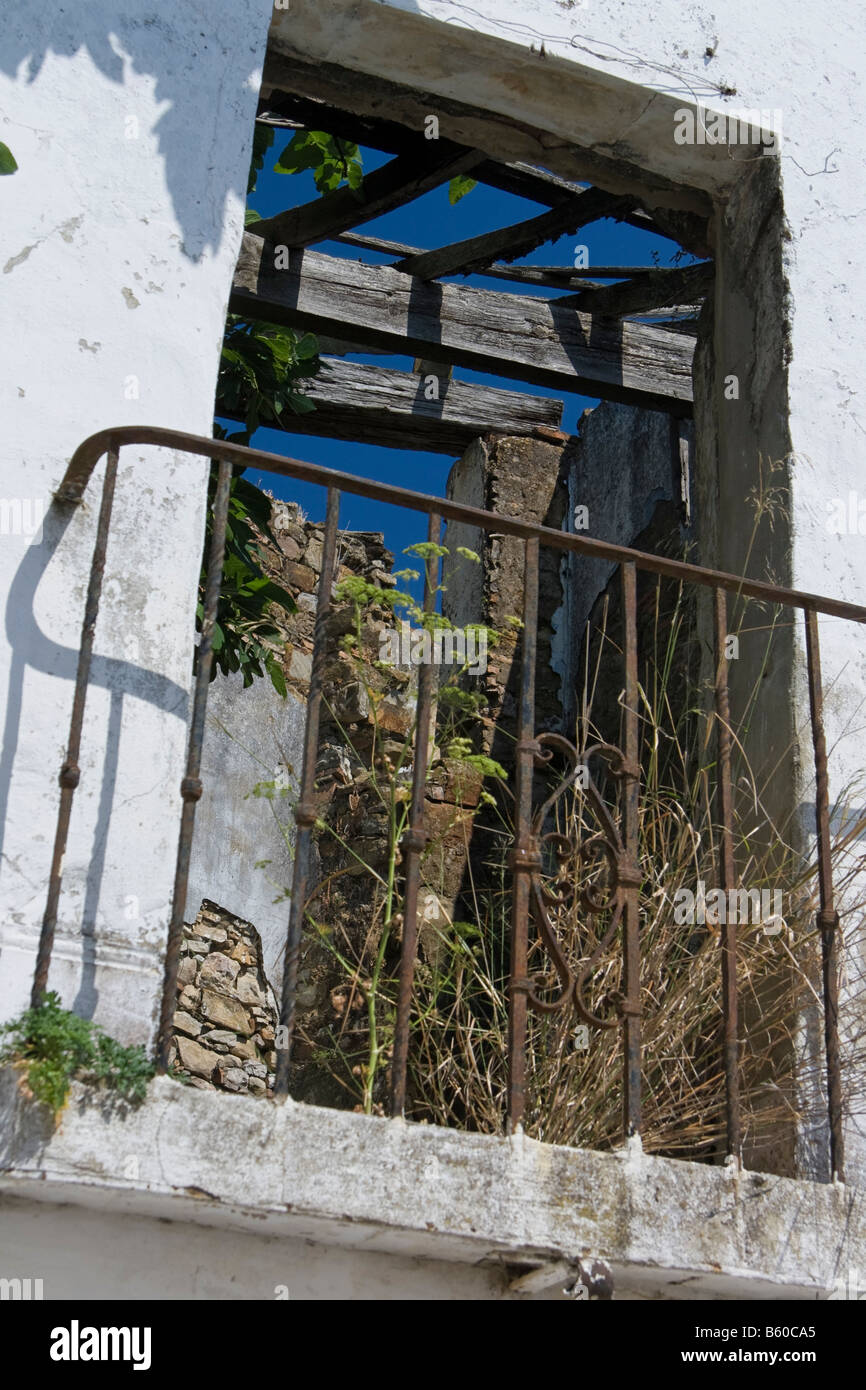 castellar de la frontera spain province house white blue window flower old - Stock Image