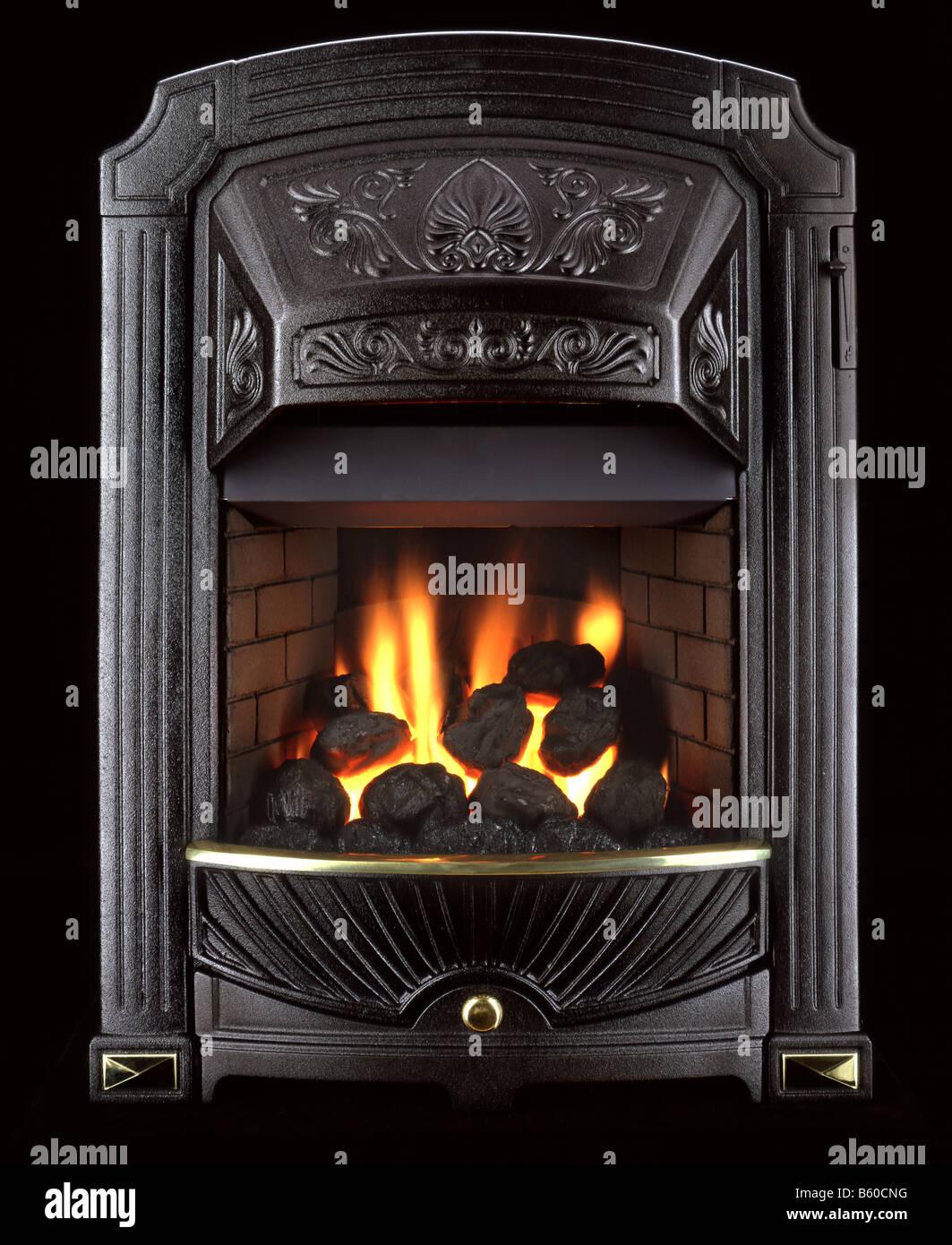 Black Metal Fireplace With Burning Coal Stock Photo 20908316 Alamy