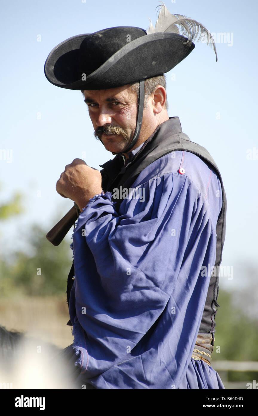 Hungary, A chicos (cowboy) at a farm in the Puszta near Kalocsa Stock Photo