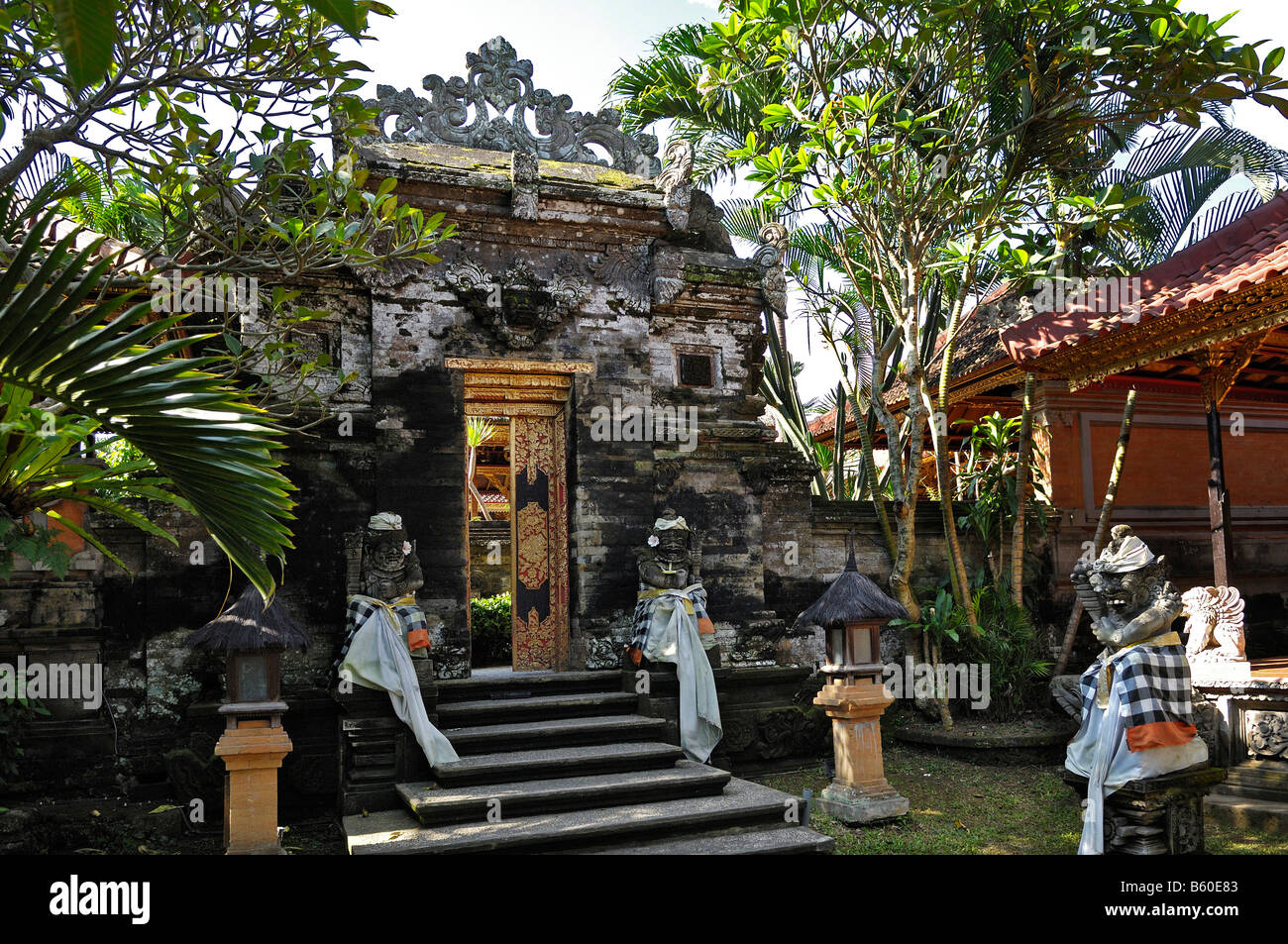 Gate located in Puri Saren Palace, Ubud, Bali, Indonesia - Stock Image