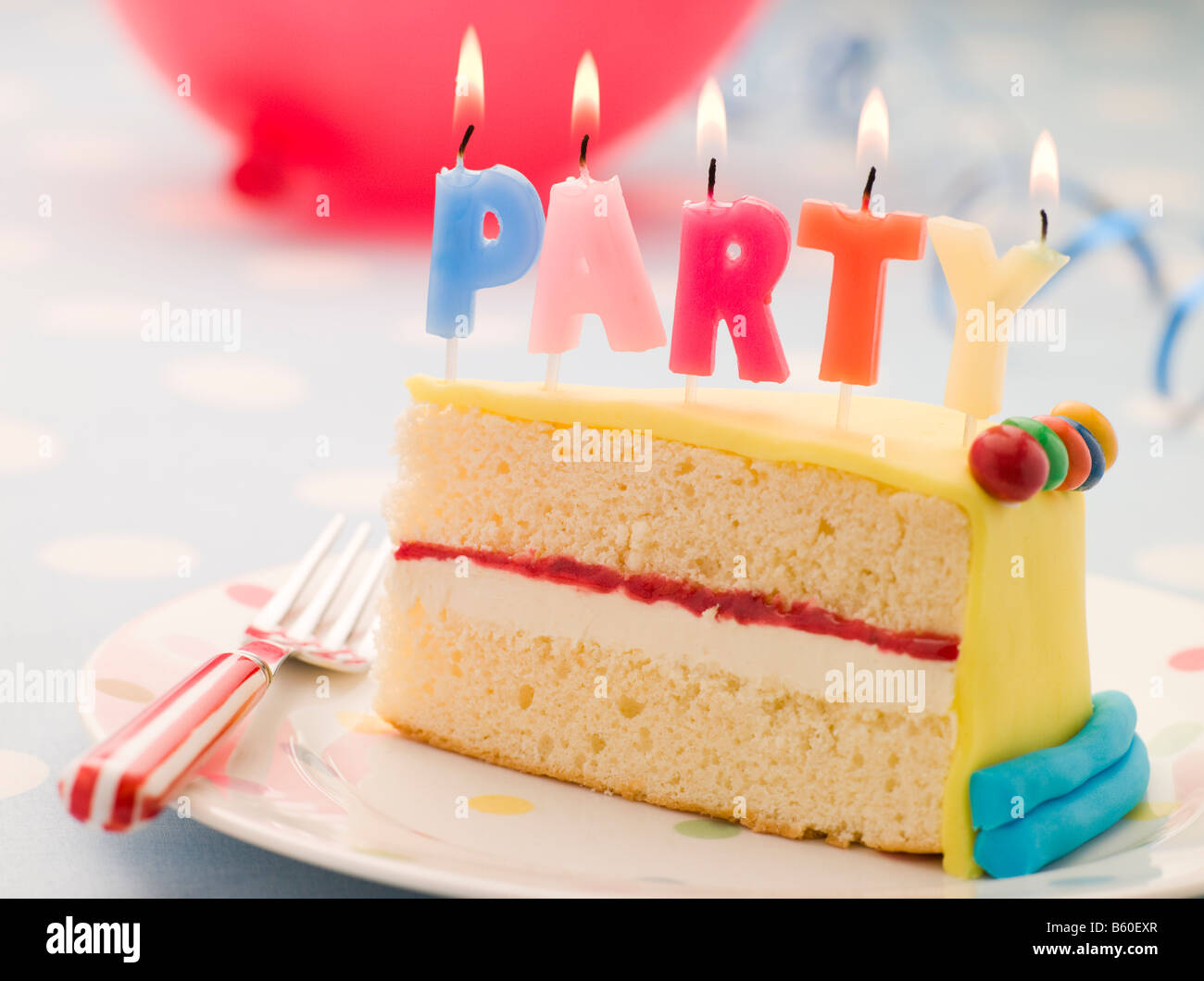 Party Candles On A Slice Of Birthday Cake Stock Photo 20910031 Alamy