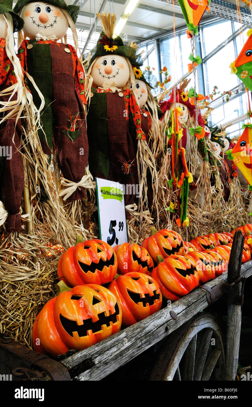 Halloween puppets and pumpkin lanterns in a market hall - Stock Image