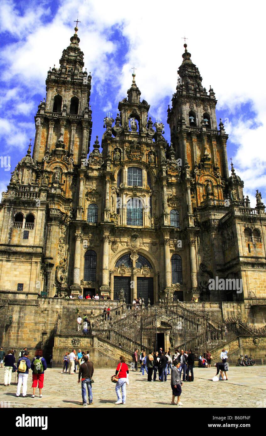 Santiago de Compostela Cathedral view from Plaza del Obradoiro Stock Photo
