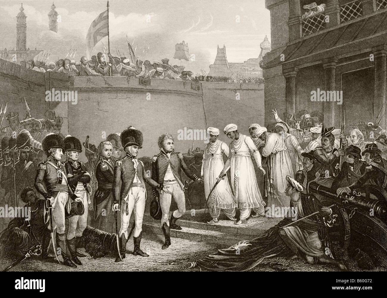 Surrender of the two sons of Tippoo Sultan during siege of Seringapatam in the Third Anglo Mysore War - Stock Image