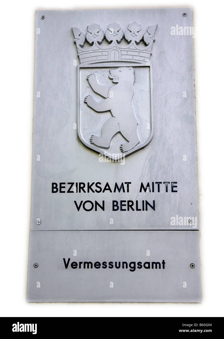 Sign, District Office Centre of Berlin, surveyor's office - Stock Image