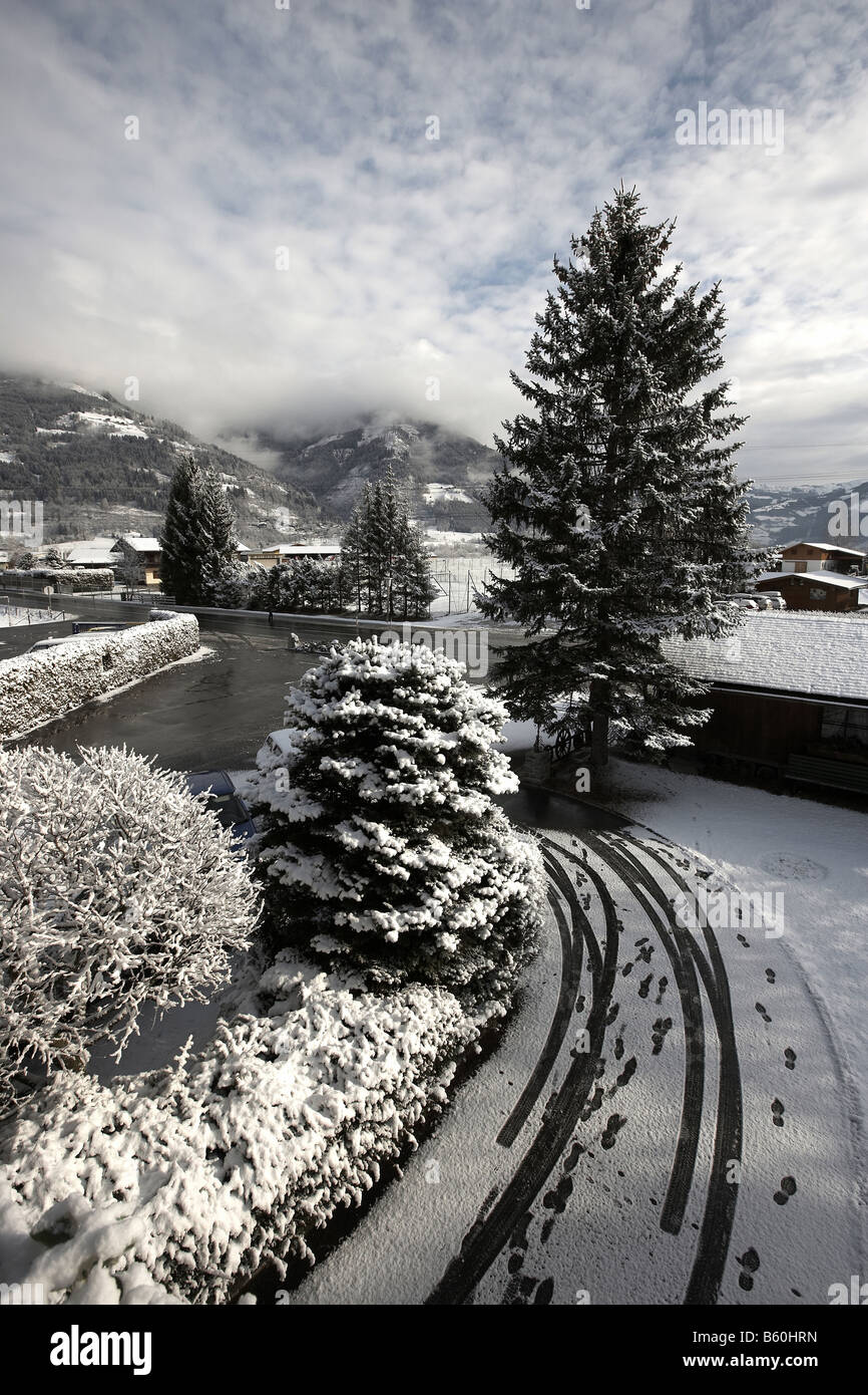 Fresh snow fall over Kaprun near Zell an See Austria Europe Stock Photo