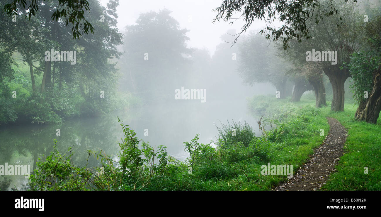 Foggy dawn, River Wey by Stoke Lock near Guildford, Surrey, UK - Stock Image
