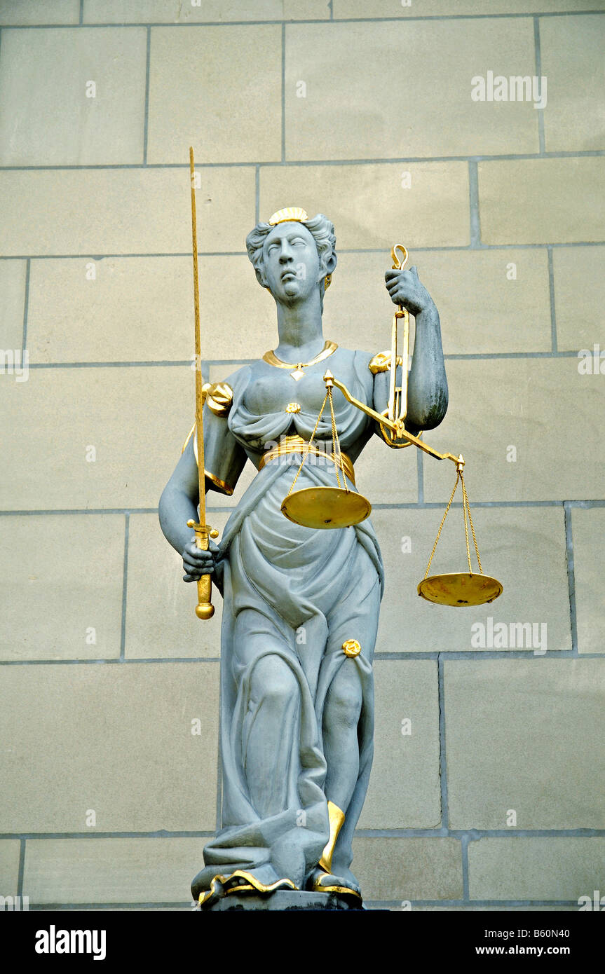Statue of Lady Justice, sculptor Hans Dub, City Hall, Zofingen, Aargau, Switzerland, Europe - Stock Image