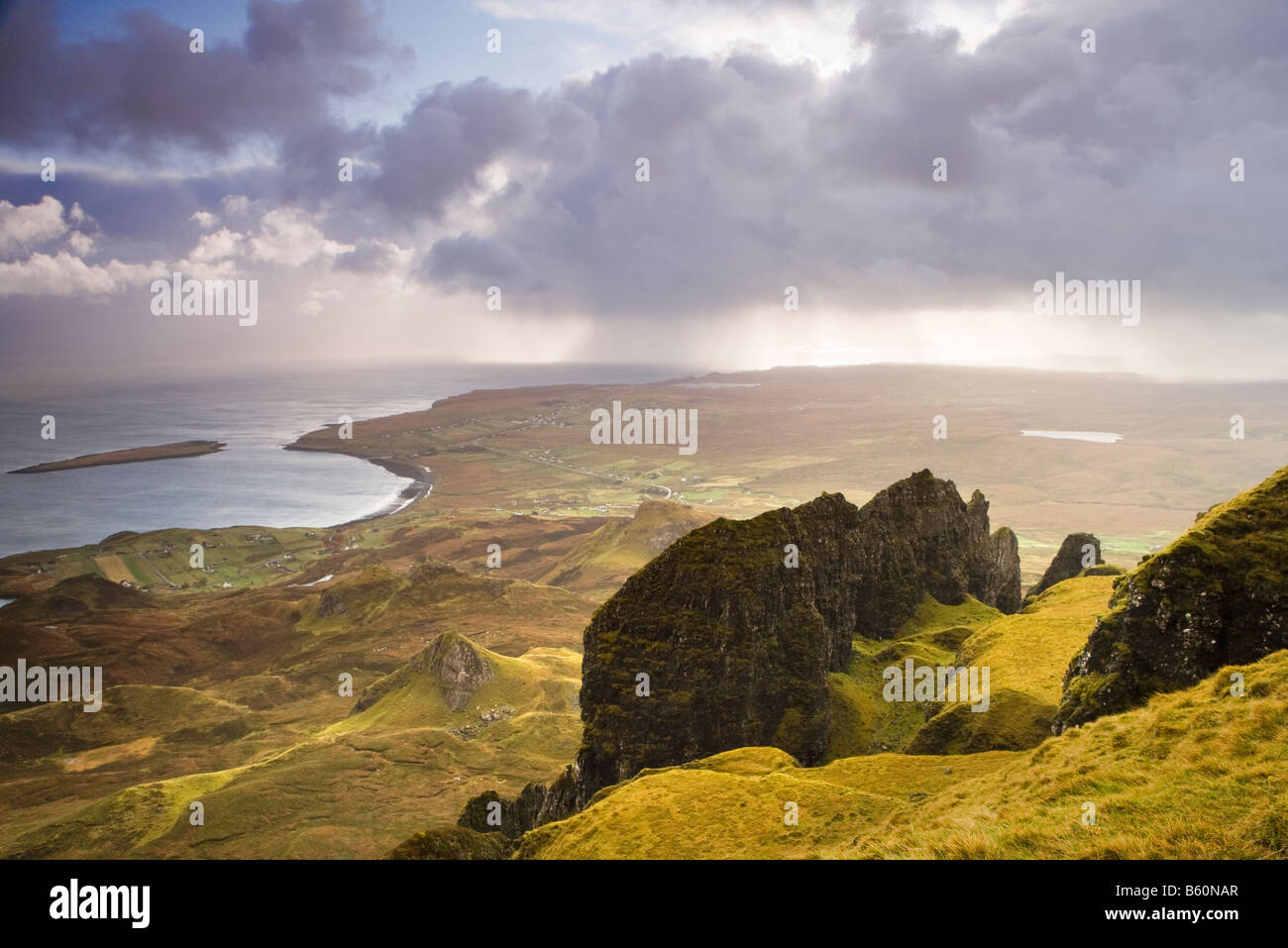 The Quiraing, Staffin Bay beyond. Isle of Skye, Scotland, UK - Stock Image