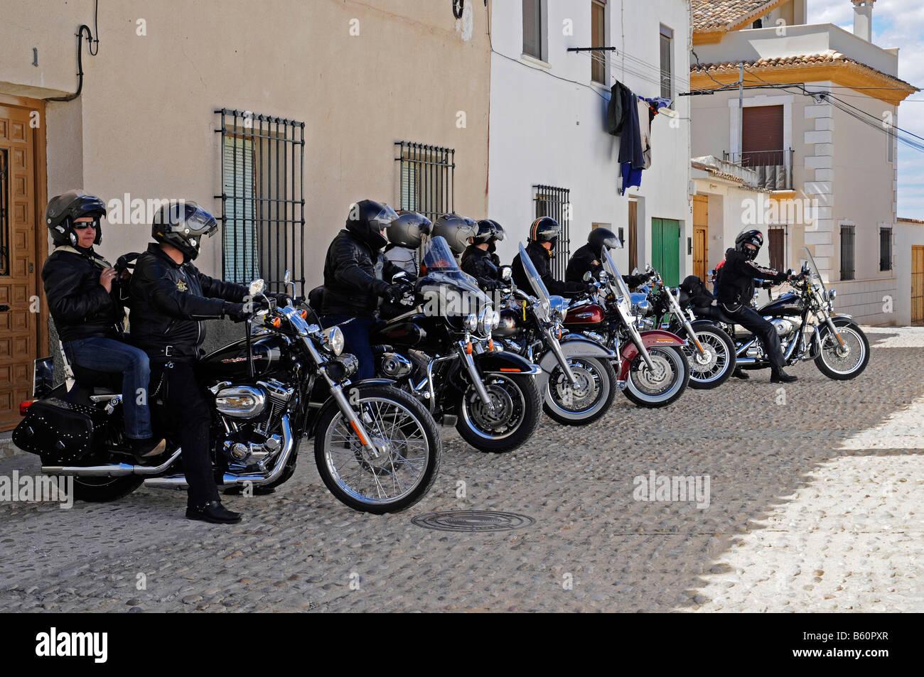 Harley Davidson, motorbikes, motorcyclists, parking, street, start, exhibition, motorbike excursion, Spain, Europe - Stock Image