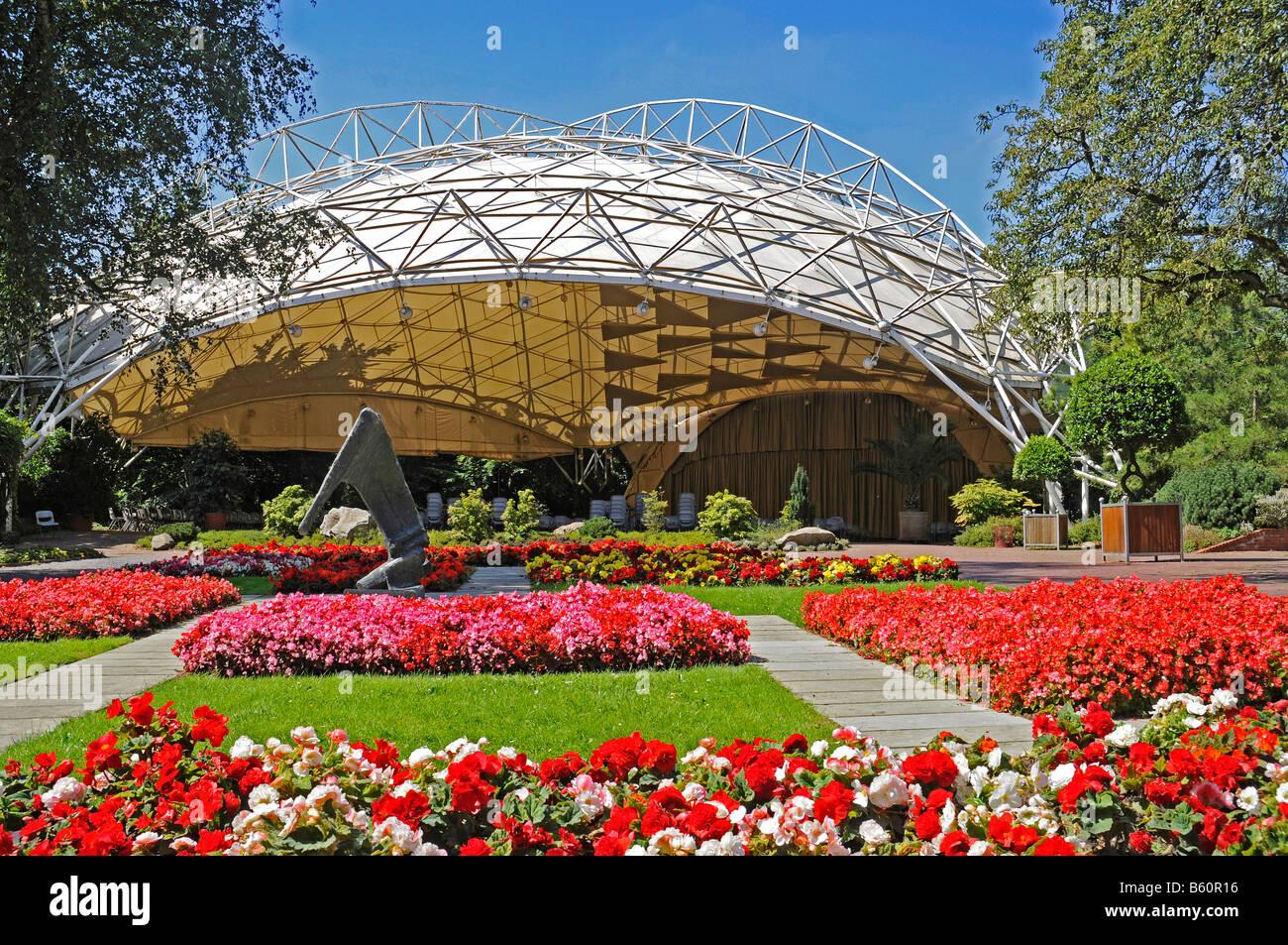 Music pavilion, stage, park, Grugapark, Essen, Ruhrgebiet, Ruhr Area, North Rhine-Westphalia - Stock Image