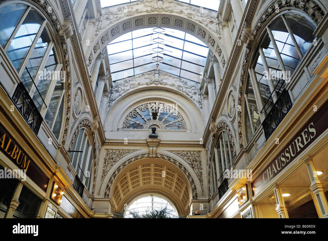 Glass roof, passage Pommeraye, shopping centre, Nantes, Pays de la Loire, France, Europe - Stock Image