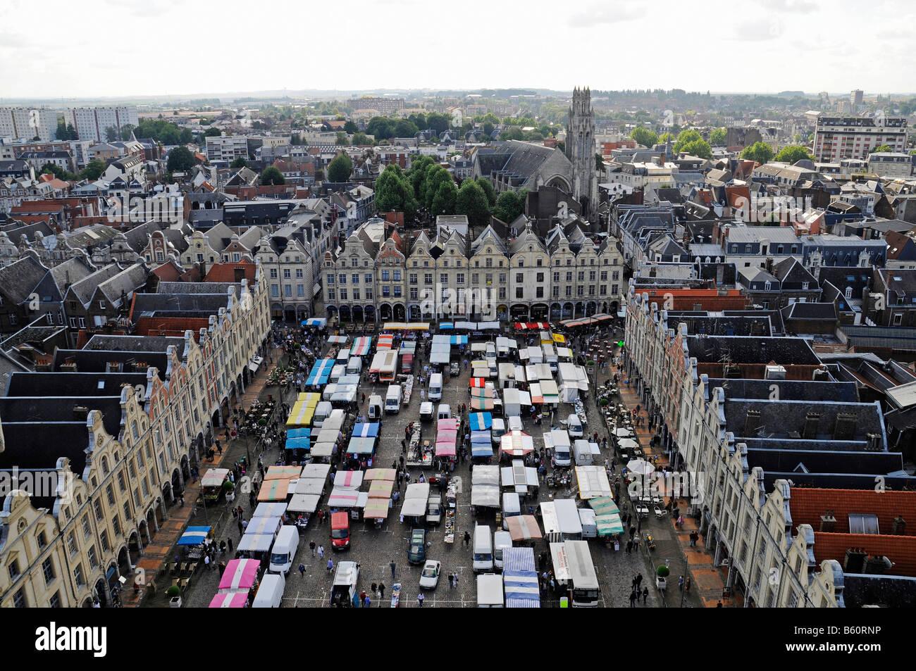 Weekly market, square, Place des Heros, city view, overview, Arras, Nord Pas de Calais, France, Europe Stock Photo