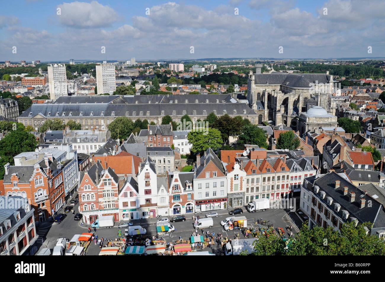Musee des Beaux Arts, museum of fine arts, Saint Vaast cathedral, city view, overview, Arras, Nord Pas de Calais, - Stock Image