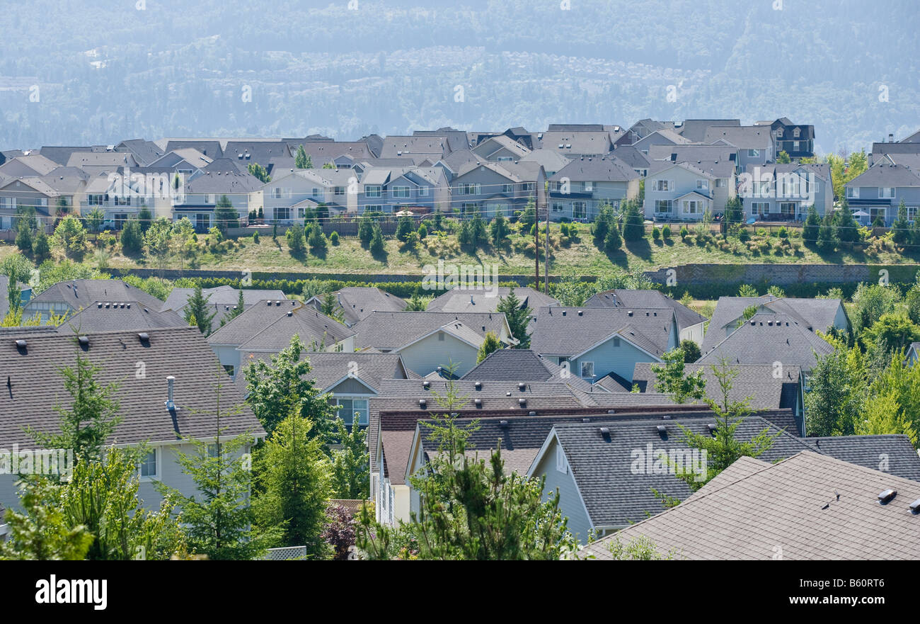 Rooftops of a housing development in the Issaquah Highlands WA Stock Photo
