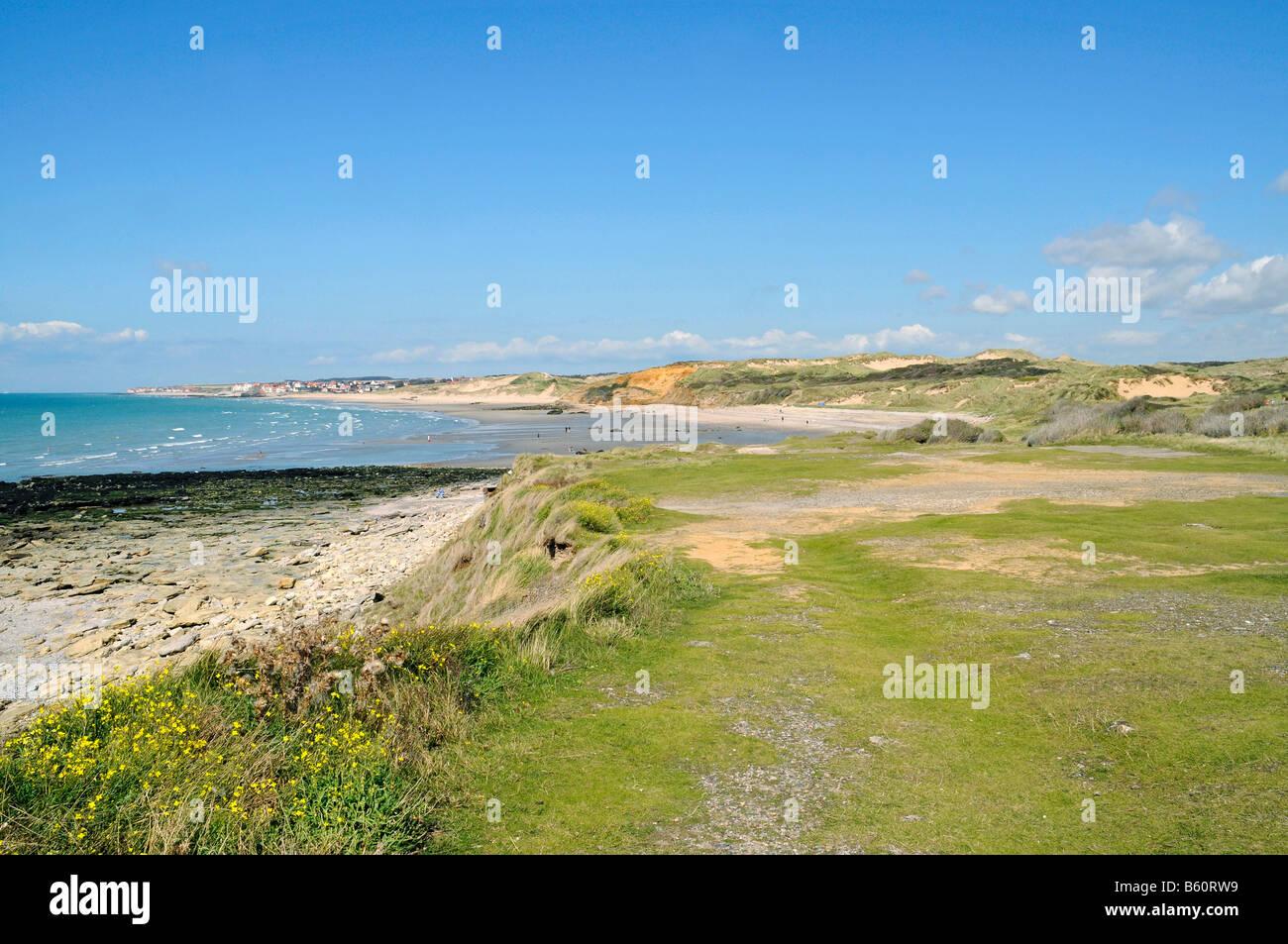 Dunes, ocean, landscape, coast, Dunes de la Slack, Wimereux, Boulogne sur Mer, Opal coast, Nord Pas de Calais, France, - Stock Image