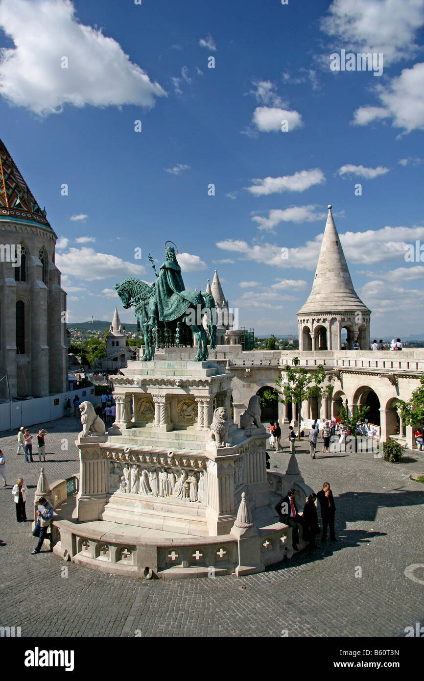 Statue of Stephen I of Hungary in front of the Fisherman's Bastion, Budapest, Hungary, Europa Stock Photo