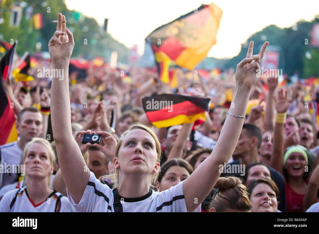 Fans watching the final game of the football EM on the Berlin fan mile, Berlin Stock Photo
