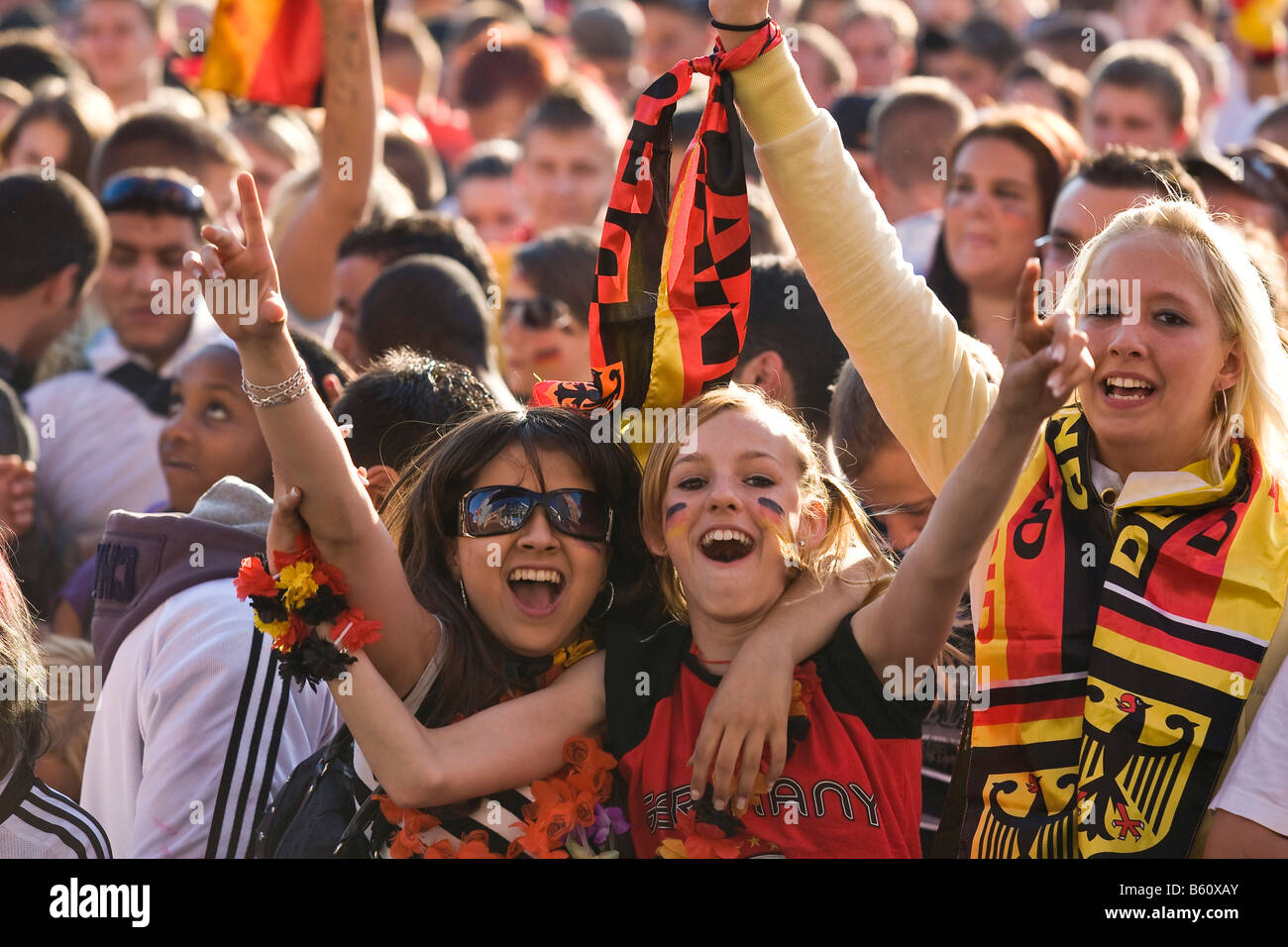 Young fans watching the final game of the football EM on the Berlin fan mile, Berlin Stock Photo