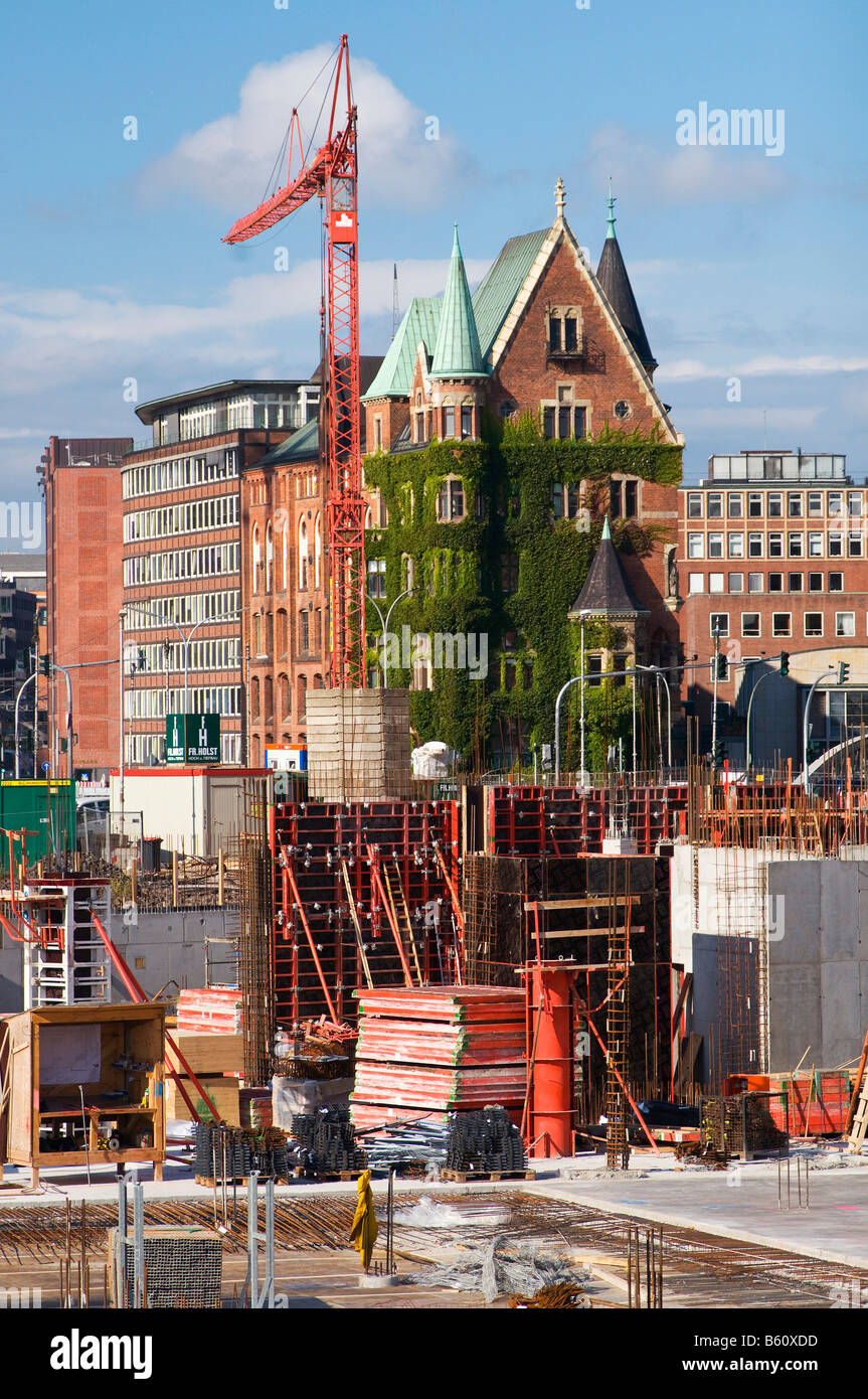 Old and new, construction site in front of the end building of warehouse block O, HafenCity, warehouse district, Stock Photo