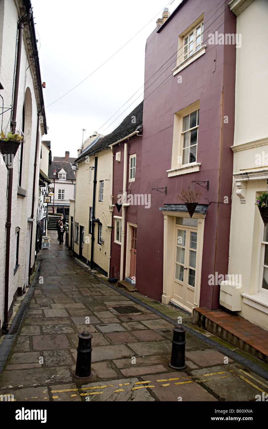 a town street in bridgenorth with terraced town houses Stock Photo