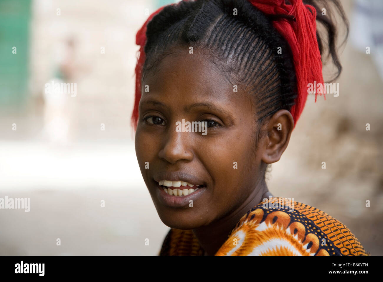 Portrait of a young woman, 20-25 years old, Eritrea, Africa - Stock Image