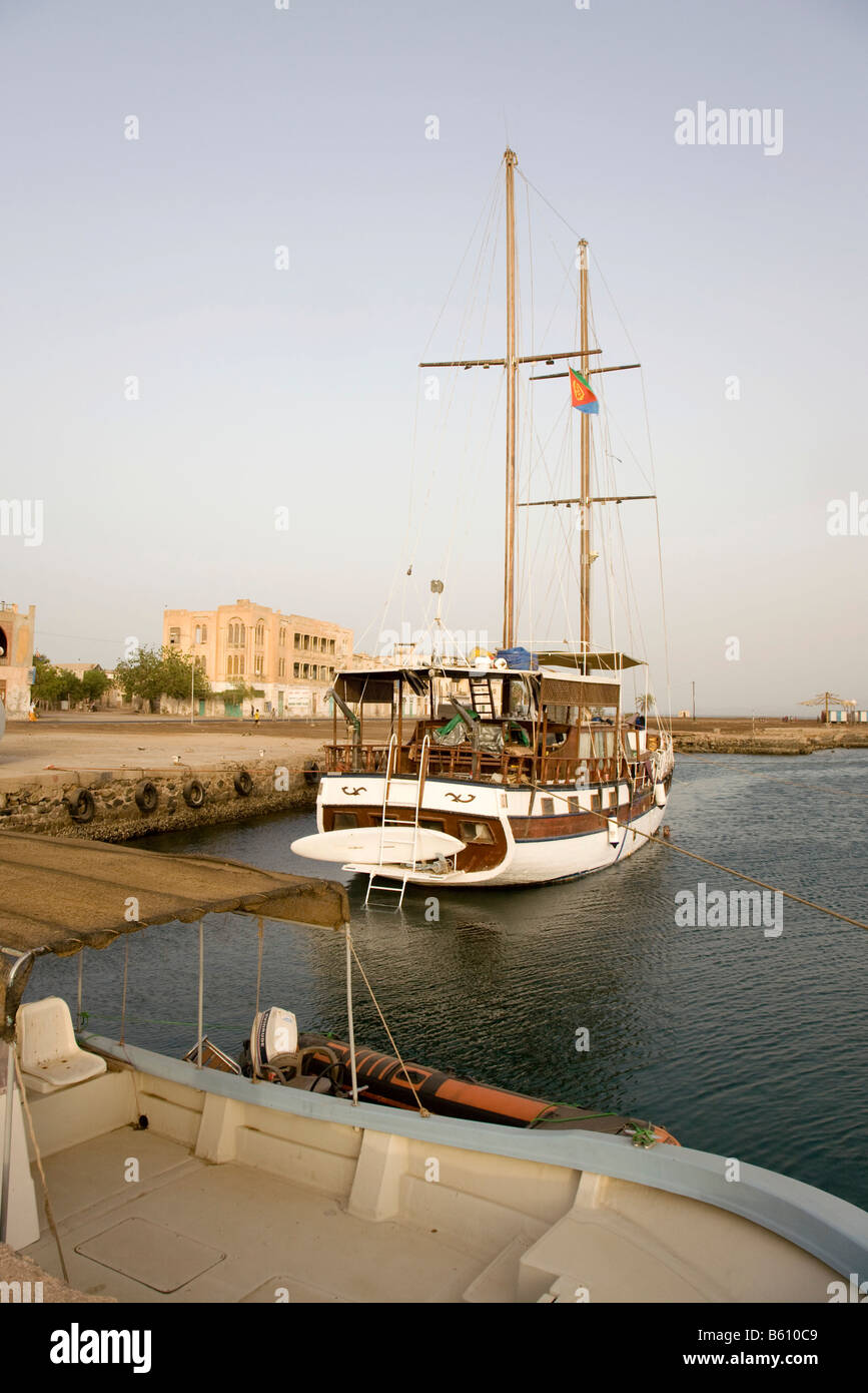 Brigantine in the harbour, Massawa, Red Sea, Eritrea, Horn of Africa, East Africa - Stock Image