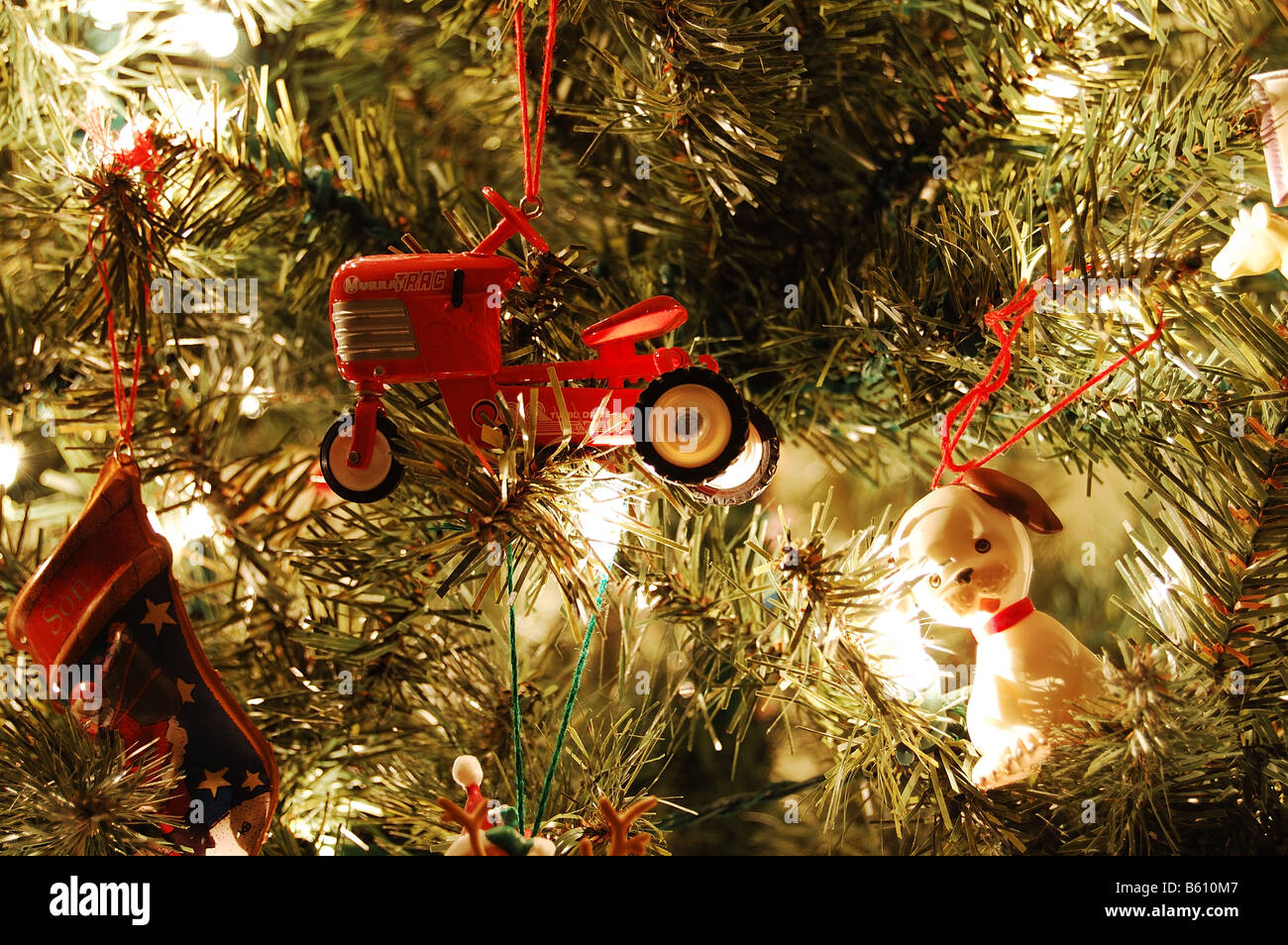 Christmas Tree With Ornaments And White Lights Close Up Dog Tractor Ornament