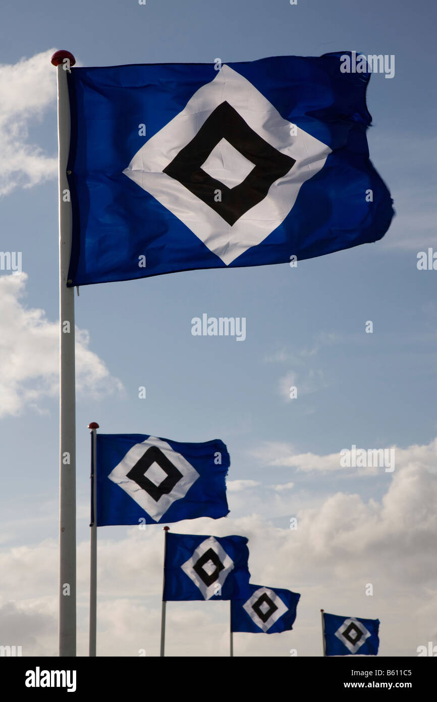 Flags of the Hamburger Sport Verein, or HSV, being flown as part of the campaign, Die Nordsee zeigt Flagge fuer - Stock Image