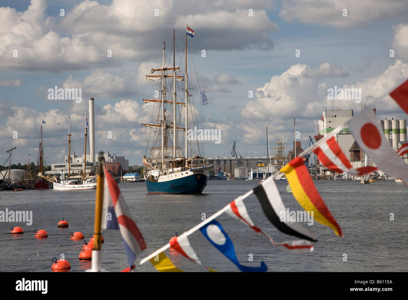 Square-rigged sailing ship during the Flensburg Nautics sailing festival, Innenfoerde, Flensburg, Schleswig-Holstein - Stock Image