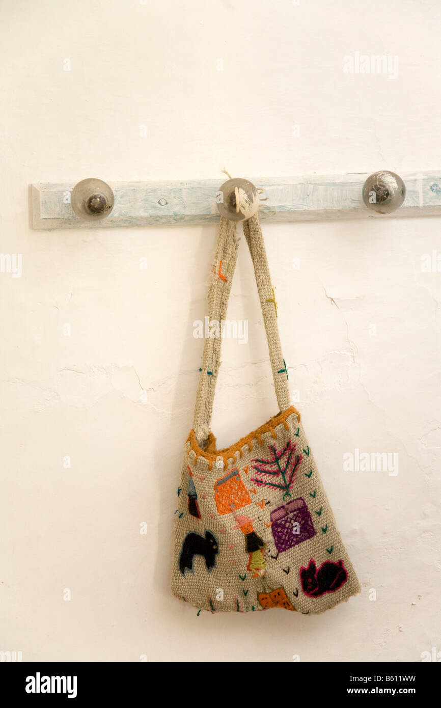 Carrying bag adorned with childlike themes, Venezuela, South America - Stock Image