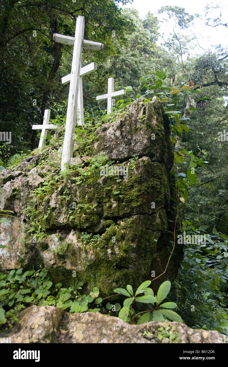 Christian crosses on the Camino de los Espanoles, Old Spanish trade route over the Sierra de San Luis, Venezuela, Stock Photo