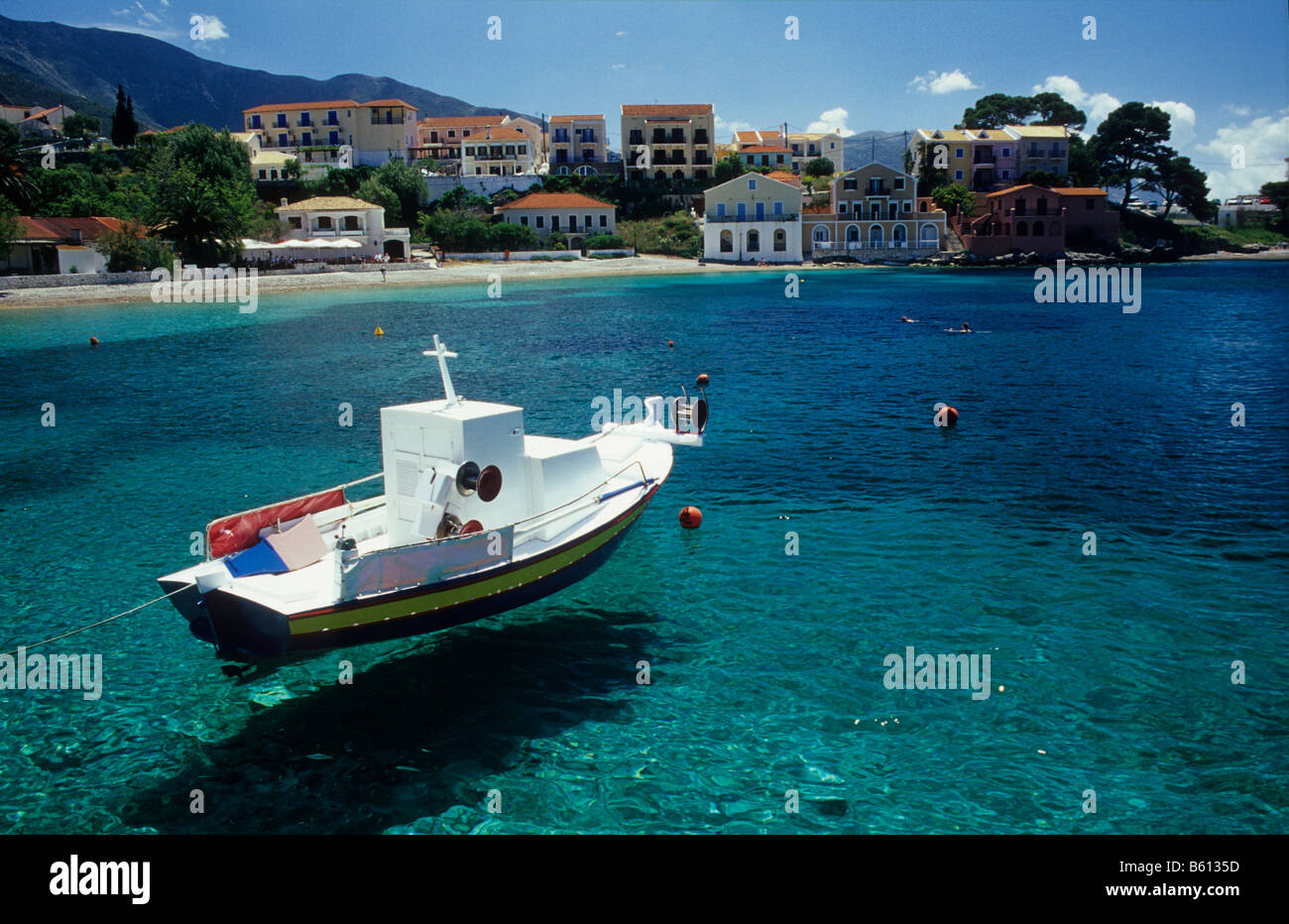 Boat in the harbour of Assos, Island of Kefalonia, Greece, Europe - Stock Image