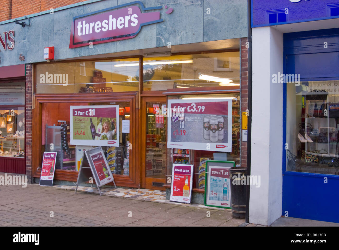 Threshers Off License Selling Cheap Alcohol With Offers Advertised On  Boards Outside Shop Store In Woodbridge,Suffolk,Uk