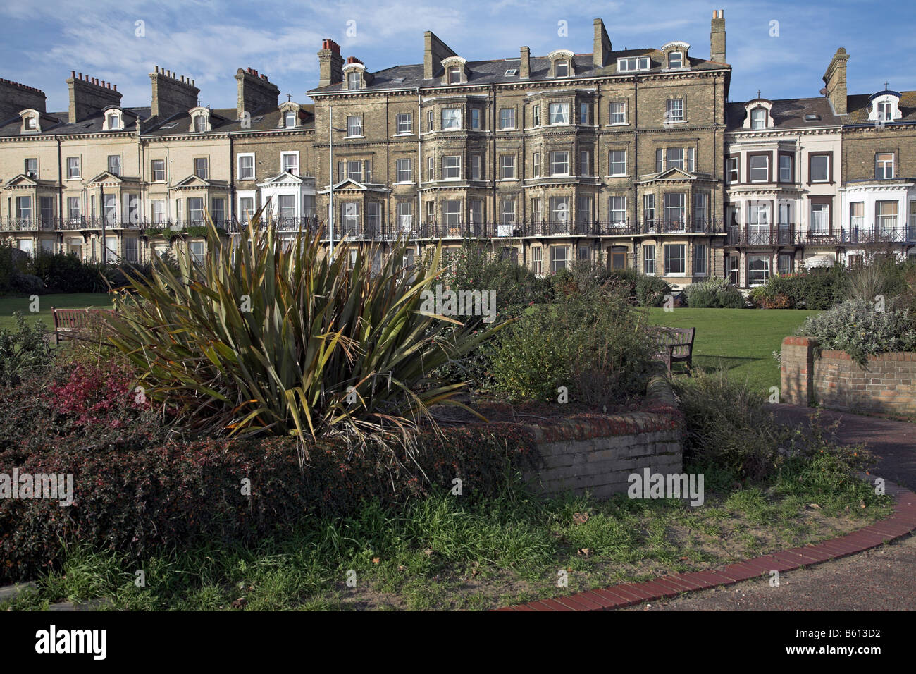 Seafront guest houses out of season Lowestoft Suffolk England - Stock Image