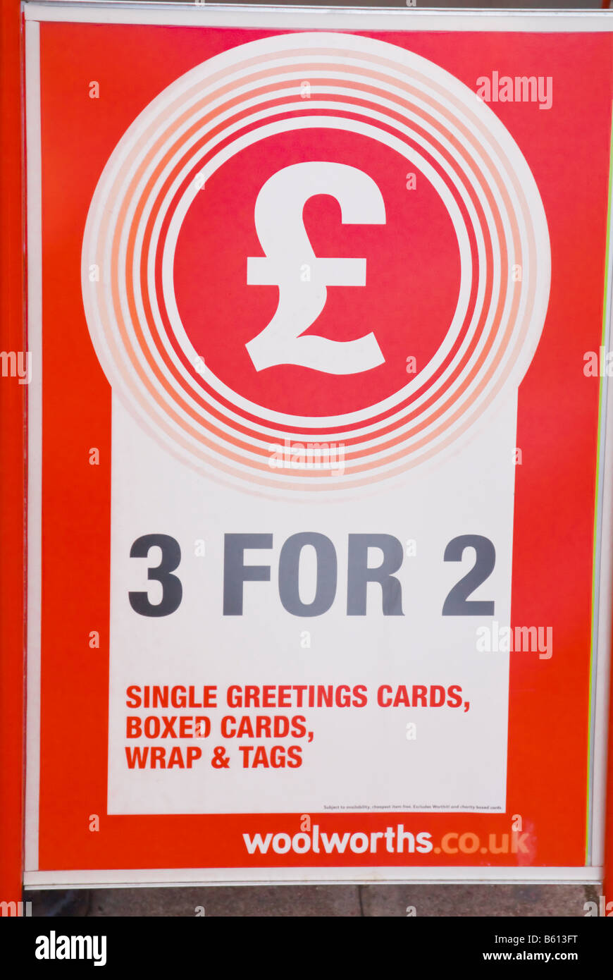 Sign Advertising 3 For 2 Items Offer Outside Woolworths In Uk Stock