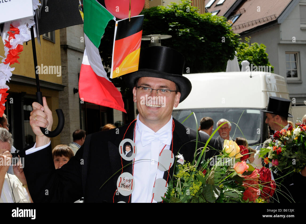 Dr. Blaese, 40-year-old mayor, Gmuender city festival, parade of the 40-year-old people, Schwaebisch Gmuend, Baden - Stock Image