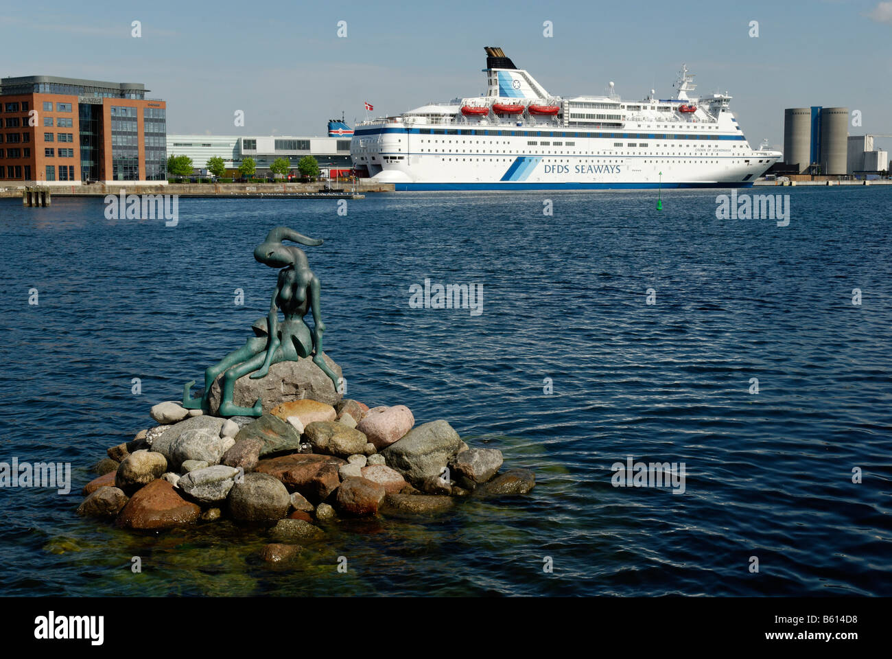 Alternative Little Mermaid and car ferry from Copenhagen to Oslo in the port of Copenhagen, Denmark, Scandinavia, Stock Photo