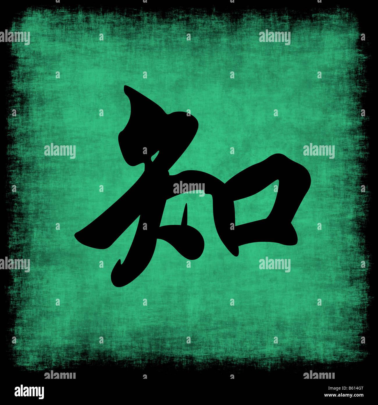 Knowledge Chinese Calligraphy Symbol Grunge Background Set Stock