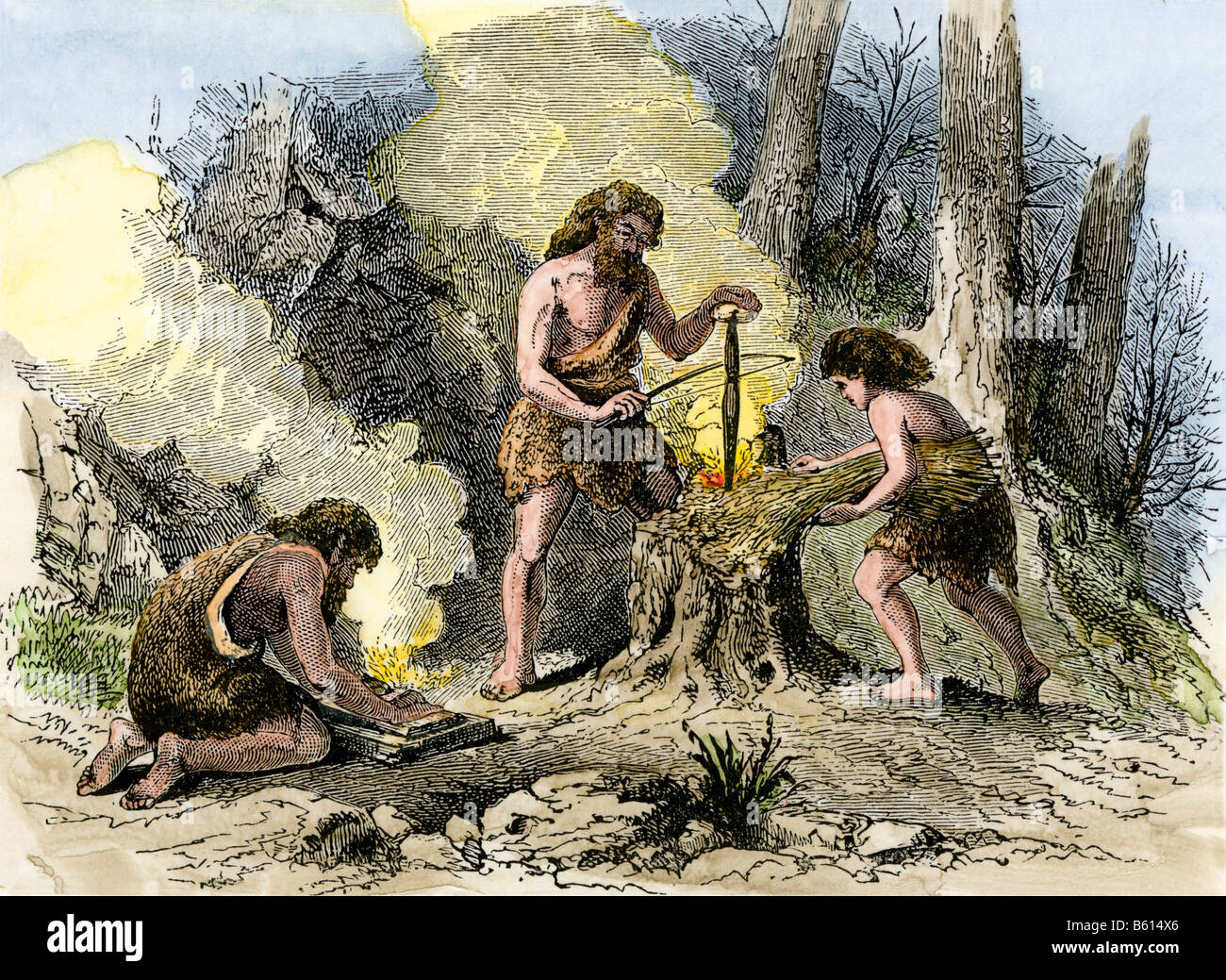 Humans discovering how to make fire in prehistoric times. Hand-colored woodcut - Stock Image
