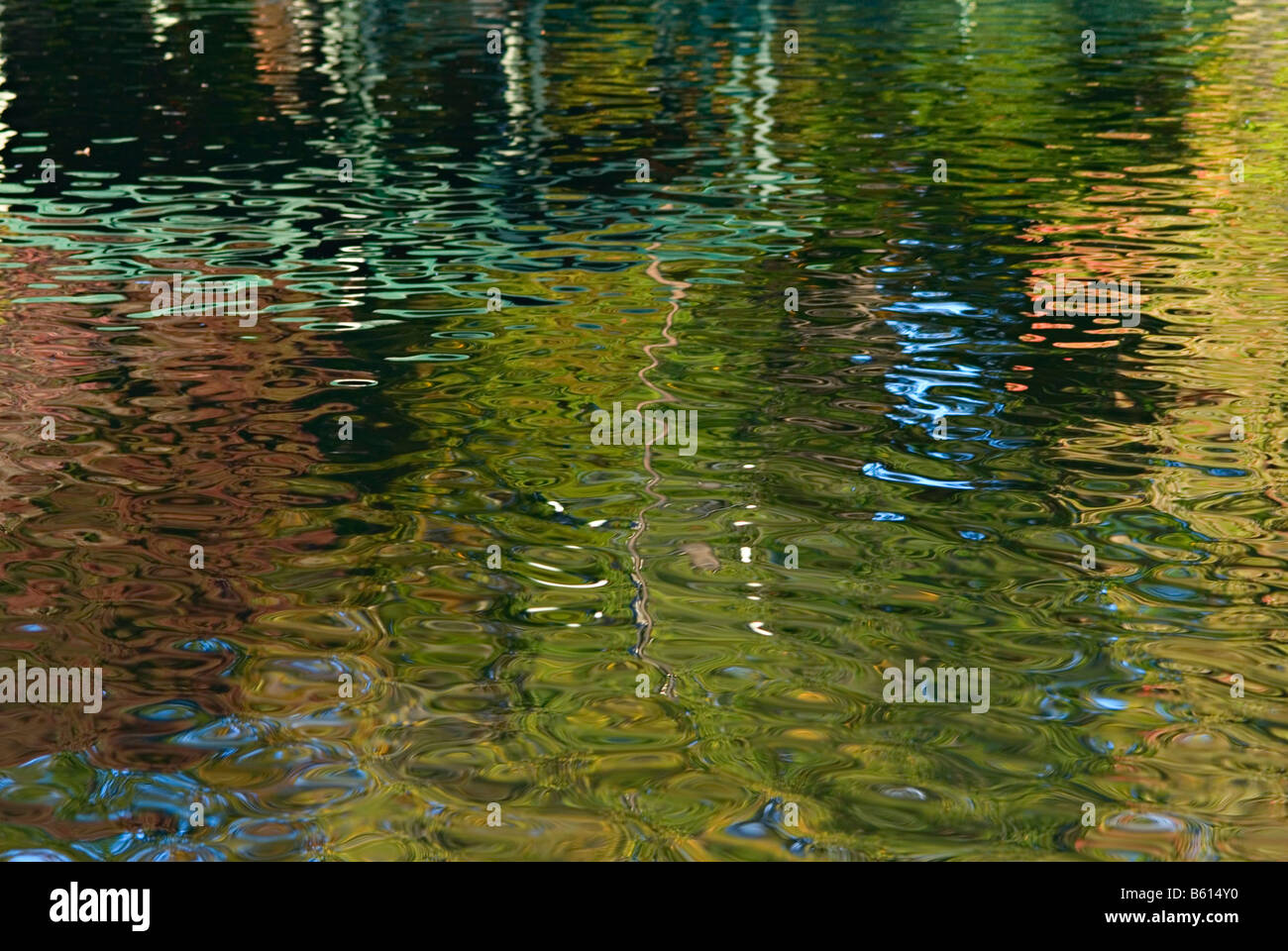 Abstract patterns, in fall colors, of trees reflected in the pond at Boston Public Garden, one of the Emerald Necklace - Stock Image