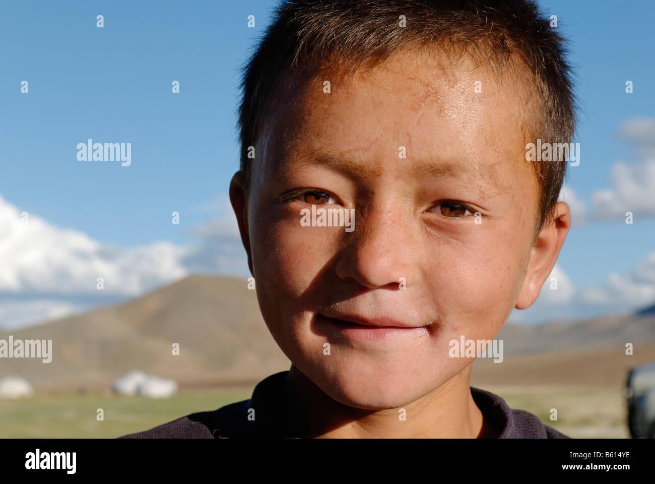 Kazakh, Mongolian boy, Kazakhstan, Mongolia, Asia - Stock Image