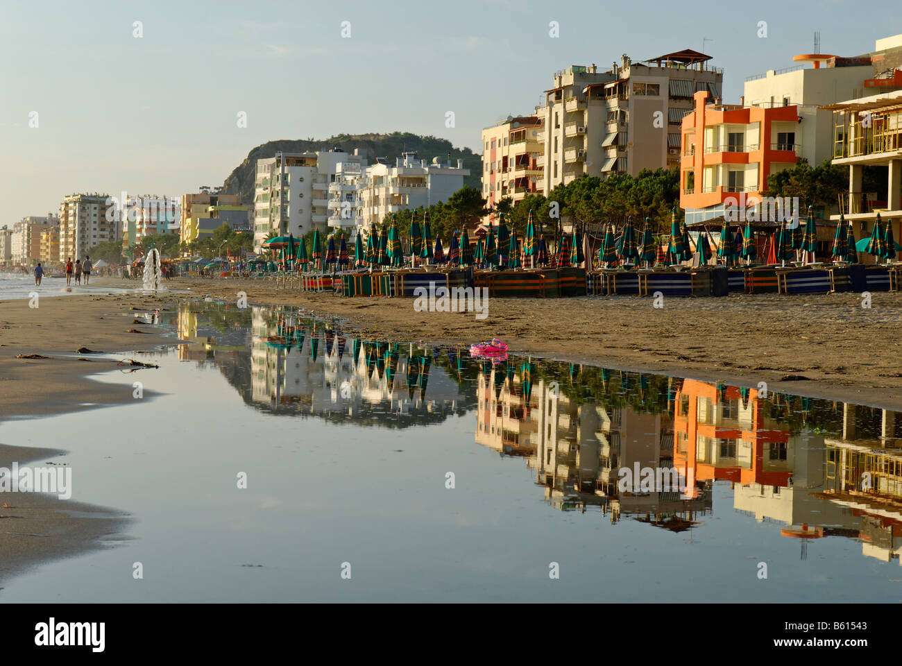 Hotels and restaurants on Durres beach, Albania, Europe - Stock Image