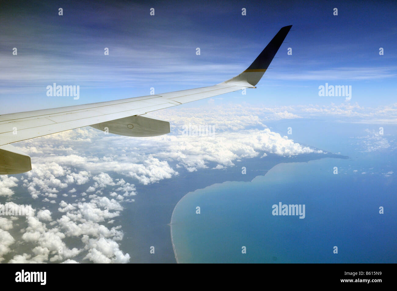 View from an airplane of a Caribbean coast, Nicaragua, Central America - Stock Image